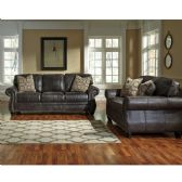 Benchcraft Breville Living Room Set in Charcoal Faux Leather - Sofa Sets