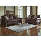 Benchcraft Breville Living Room Set in Espresso Faux Leather - Sofa Sets