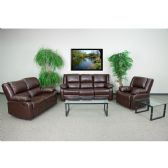 Harmony Series Brown Leather Reclining Sofa Set - Sofa Sets