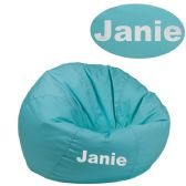 Personalized Small Solid Mint Green Kids Bean Bag Chair - Soft Seating
