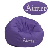 Personalized Small Solid Purple Kids Bean Bag Chair - Soft Seating