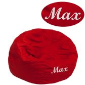 Personalized Small Solid Red Kids Bean Bag Chair - Soft Seating