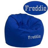 Personalized Small Solid Royal Blue Kids Bean Bag Chair - Soft Seating