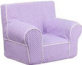 Small Lavender Dot Kids Chair with White Piping - Soft Seating