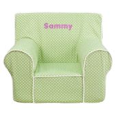 Personalized Small Green Dot Kids Chair with White Piping - Soft Seating