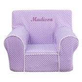 Personalized Small Lavender Dot Kids Chair with White Piping - Soft Seating