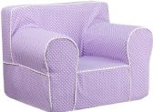 Oversized Lavender Dot Kids Chair with White Piping - Soft Seating
