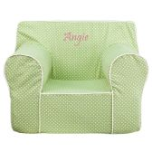 Personalized Oversized Green Dot Kids Chair with White Piping - Soft Seating