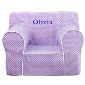 Personalized Oversized Lavender Dot Kids Chair with White Piping - Soft Seating