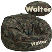 Personalized Oversized Camouflage Kids Bean Bag Chair - Soft Seating