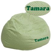 Personalized Oversized Green Dot Bean Bag Chair - Soft Seating