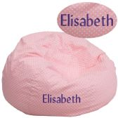 Personalized Oversized Light Pink Dot Bean Bag Chair - Soft Seating