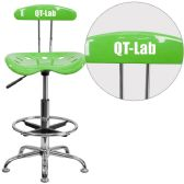 Personalized Vibrant Apple Green and Chrome Drafting Stool with Tractor Seat - Drafting