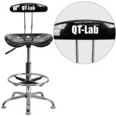 Personalized Vibrant Black and Chrome Drafting Stool with Tractor Seat - Drafting