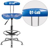 Personalized Vibrant Bright Blue and Chrome Drafting Stool with Tractor Seat - Drafting