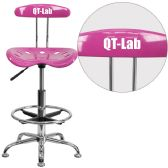 Personalized Vibrant Candy Heart and Chrome Drafting Stool with Tractor Seat - Drafting