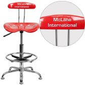 Personalized Vibrant Cherry Tomato and Chrome Drafting Stool with Tractor Seat - Drafting