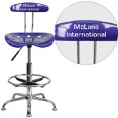 Personalized Vibrant Deep Blue and Chrome Drafting Stool with Tractor Seat - Drafting