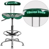 Personalized Vibrant Green and Chrome Drafting Stool with Tractor Seat - Drafting