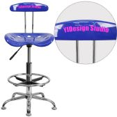 Personalized Vibrant Nautical Blue and Chrome Drafting Stool with Tractor Seat - Drafting