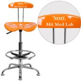 Personalized Vibrant Orange and Chrome Drafting Stool with Tractor Seat - Drafting