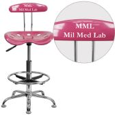 Personalized Vibrant Pink and Chrome Drafting Stool with Tractor Seat - Drafting