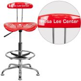 Personalized Vibrant Red and Chrome Drafting Stool with Tractor Seat - Drafting