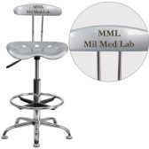 Personalized Vibrant Silver and Chrome Drafting Stool with Tractor Seat - Drafting