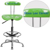 Personalized Vibrant Spicy Lime and Chrome Drafting Stool with Tractor Seat - Drafting