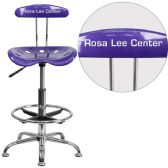 Personalized Vibrant Violet and Chrome Drafting Stool with Tractor Seat - Drafting