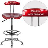 Personalized Vibrant Wine Red and Chrome Drafting Stool with Tractor Seat - Drafting