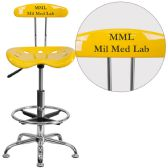 Personalized Vibrant Orange-Yellow and Chrome Drafting Stool with Tractor Seat - Drafting