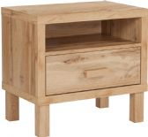 Heritage Collection 1 Drawer Nighstand with Open Storage in Rustic Oak - Bedroom