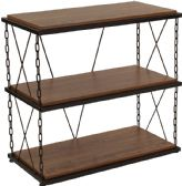 Vernon Hills Collection Antique Wood Grain Finish Two Shelf Bookshelf with Chain Accent Metal Frame - Bookcases