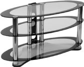 Westchester Two-Tone Glass TV Stand with Shelves and Chrome Tubing - Media