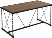 Vernon Hills Collection Antique Wood Grain Finish Coffee Table with Chain Accent Metal Frame - Coffee