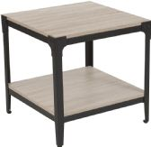 Northvale Collection Sonoma Oak Wood Finish End Table with Black Metal Legs - End