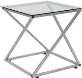 Park Avenue Collection Glass End Table with Contemporary Steel Design - End