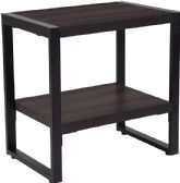 Thompson Collection Charcoal Wood Grain Finish End Table with Black Metal Frame - End
