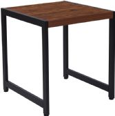 Grove Hill Collection Rustic Wood Grain Finish End Table with Black Metal Frame - End