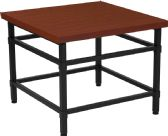 Granada Hills Collection Norway Cherry Inlaid Wood Grain Finish End Table with Black Metal Legs - End