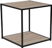 Midtown Collection Sonoma Oak Wood Grain Finish End Table with Black Metal Frame - End