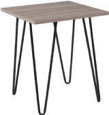 Oak Park Collection Driftwood Wood Grain Finish End Table with Black Metal Legs - End