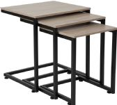 Midtown Collection Sonoma Oak Wood Grain Finish Nesting Tables with Black Metal Cantilever Base - Sofa