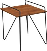 Porter Collection Cherry Wood Grain Finish Side Table with Black Metal Legs - Sofa