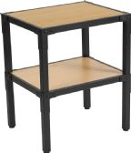 Holmby Collection Knotted Pine Wood Grain Finish Side Table with Black Metal Legs - Sofa