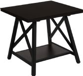 Hancock Park Collection Rustic Espresso Wood Finish Side Table - Sofa