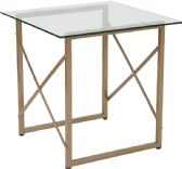 Mar Vista Collection Glass Side Table with Matte Gold Frame - Sofa