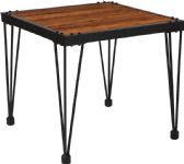 Baldwin Collection Rustic Walnut Burl Wood Grain Finish Side Table with Black Metal Legs - Sofa