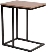 Aurora Rustic Wood Grain Finish Side Table with Black Metal Cantilever Base - Sofa